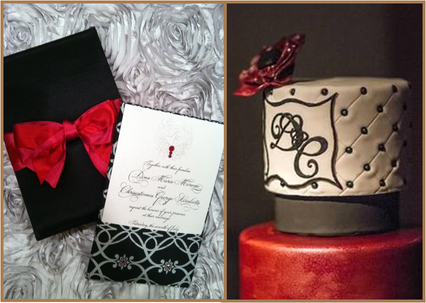 black and red wedding gorgeous wedding cake monogram on mirror event planning event coordination luxury wedding