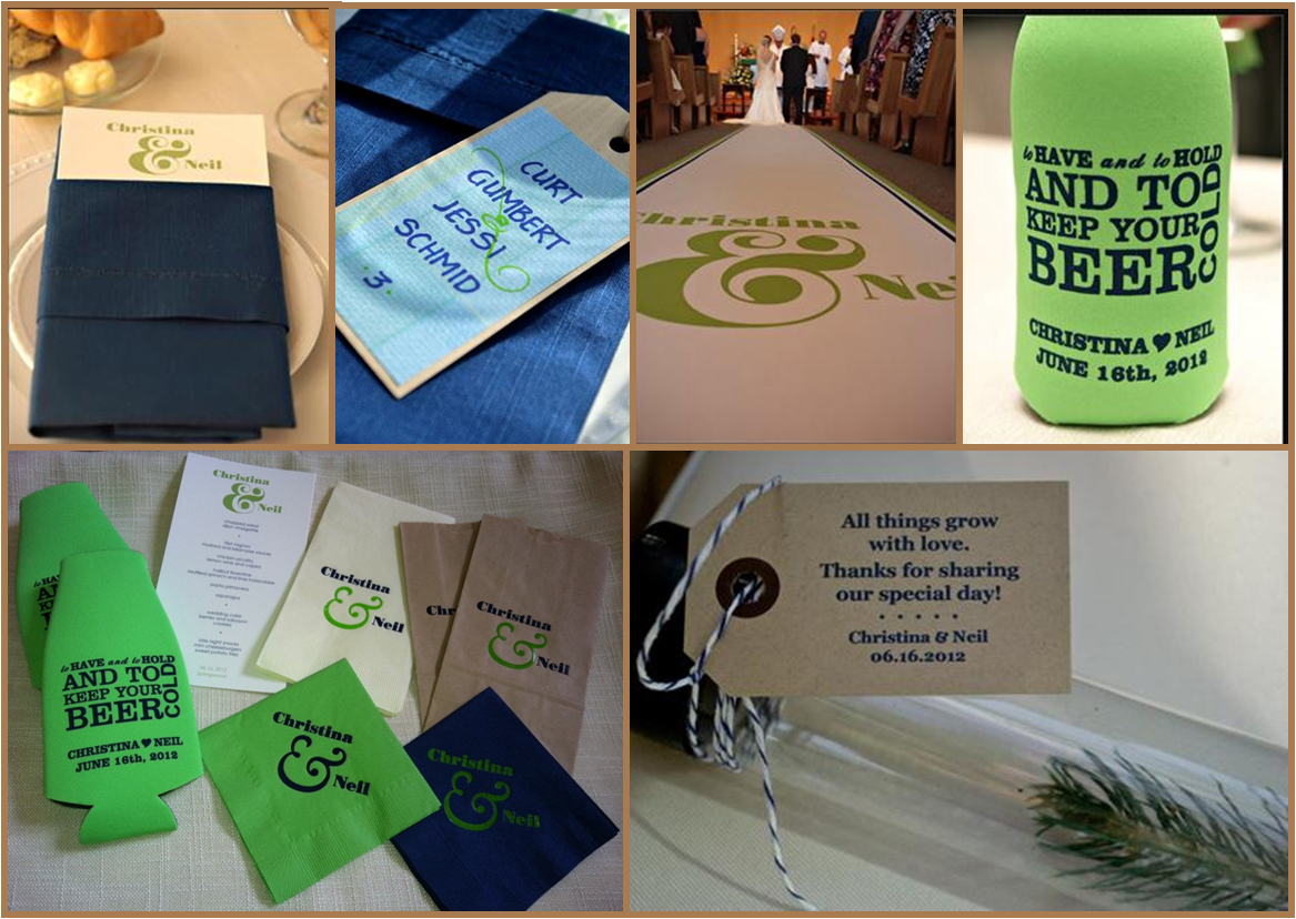 koozies tags custom aisle runner weddings