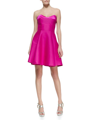 halston heritage hot pink cocktail dress