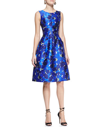 oscar de la renta blue patterned dress