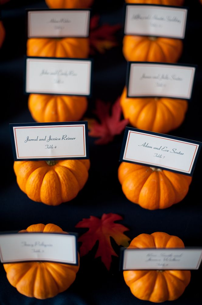 pumpkind escort card for fall wedding and event