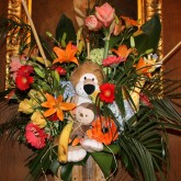 The Event Group, Pittsburgh, safari and jungle baby shower, stuffed animal in exotic florals