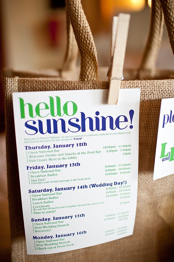 Welcome Bags, Baskets, Boxes, Cards for Wedding Guests | The Event ...