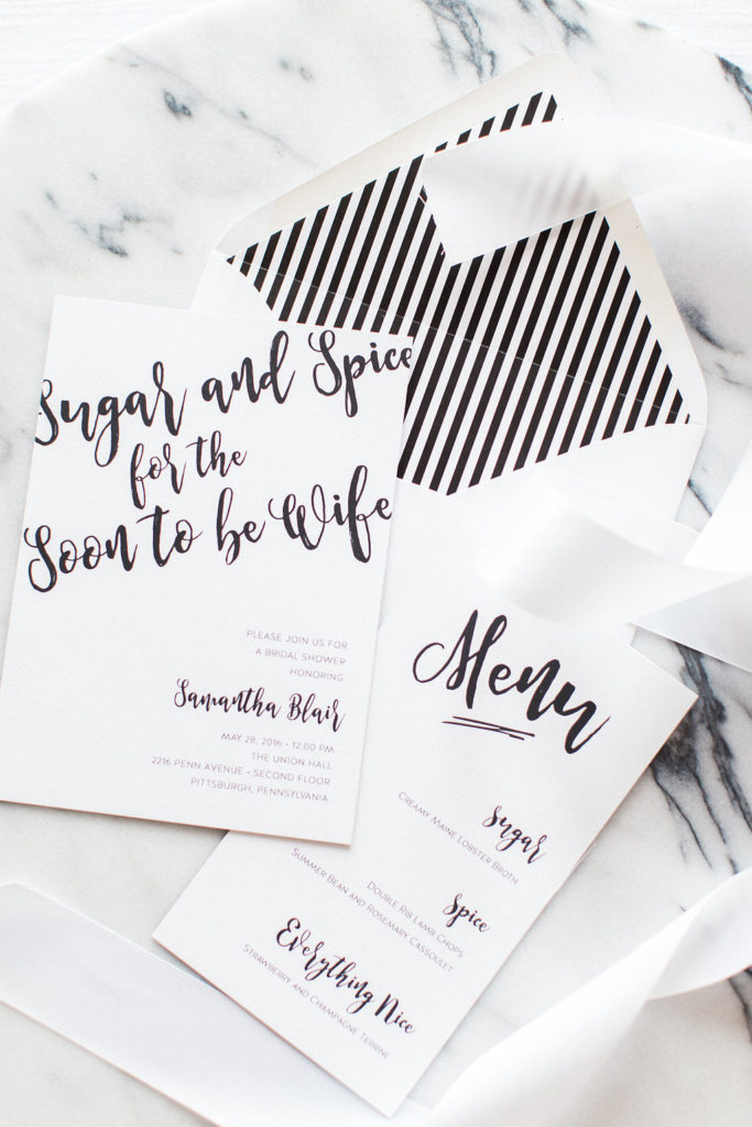 Sugar and Spice for the Soon to be Wife | Style Me Pretty | The Event Group | Pittsburgh | Black and White | Bridal Shower | Event Design | Wedding Planner | Lauren Renee Designs